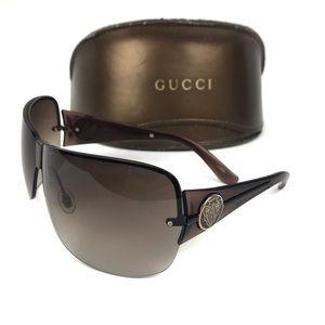 Gucci Shield Sunglasses Crest Logo Brown & Case
